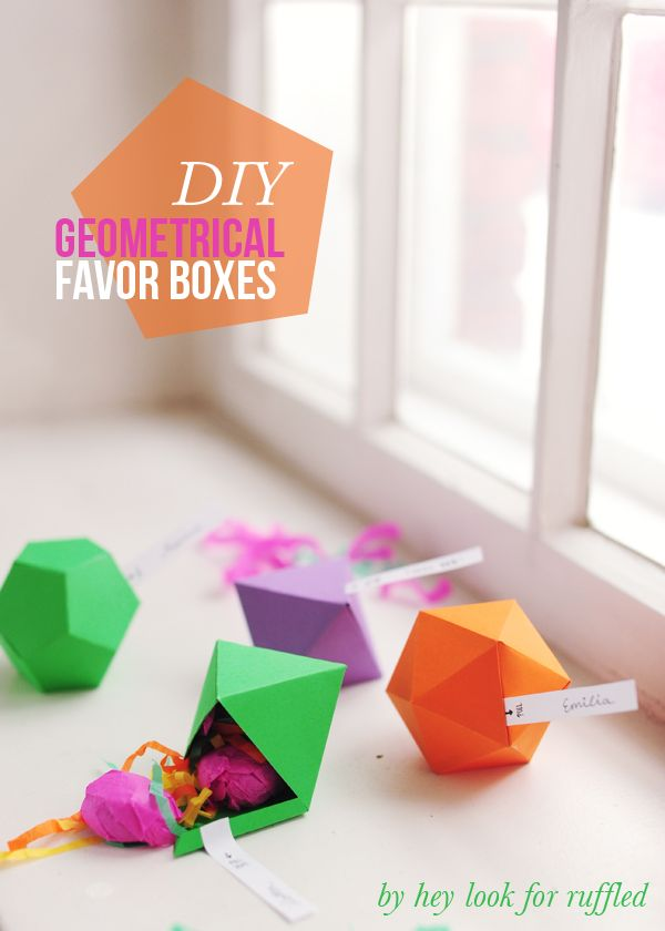 DIY geometric party favor boxes: Diy Geometric, Favours Boxes, Parties Favors, Diy Gifts, Favors Boxes, Geometric Parties, Gifts Boxes, Diy Projects, Geometric Gifts