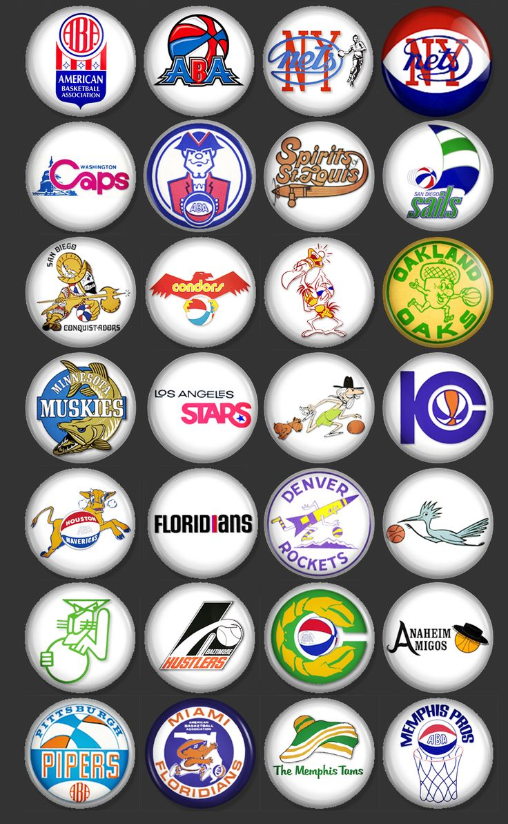 THIS IS A SET OF 28 VINTAGE ABA BASKETBALL TEAM LOGOS. YOU ...
