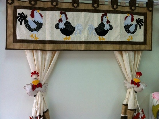 I love the chickens curtains holders!