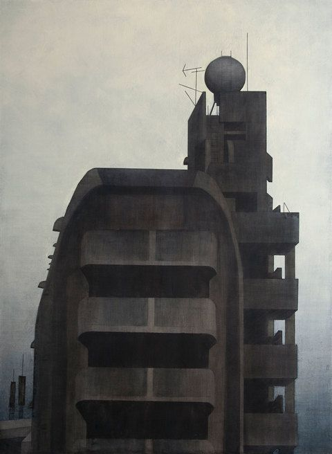 """FRANK WEBSTER  acrylic on canvas,  Apartment Building, Tokyo 2013, 60"""" x 44"""""""