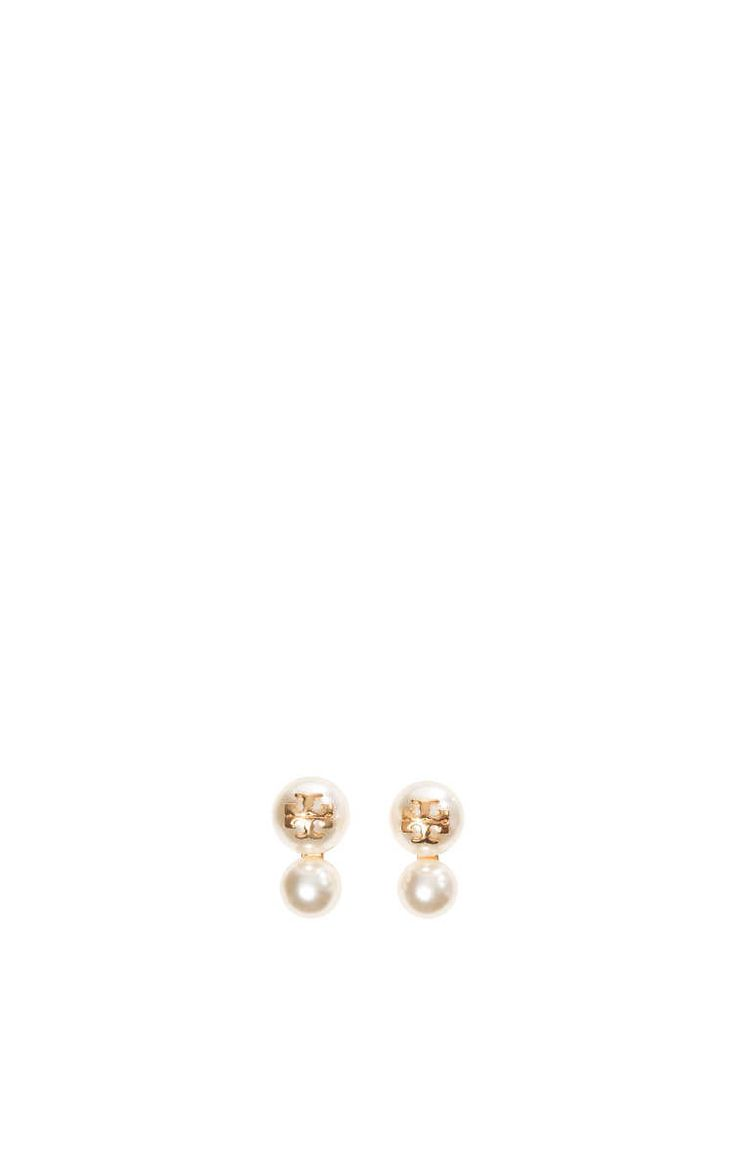 Örhängen Crystal-Pearl Double-Stud IVORY - Tory Burch - Designers - Raglady