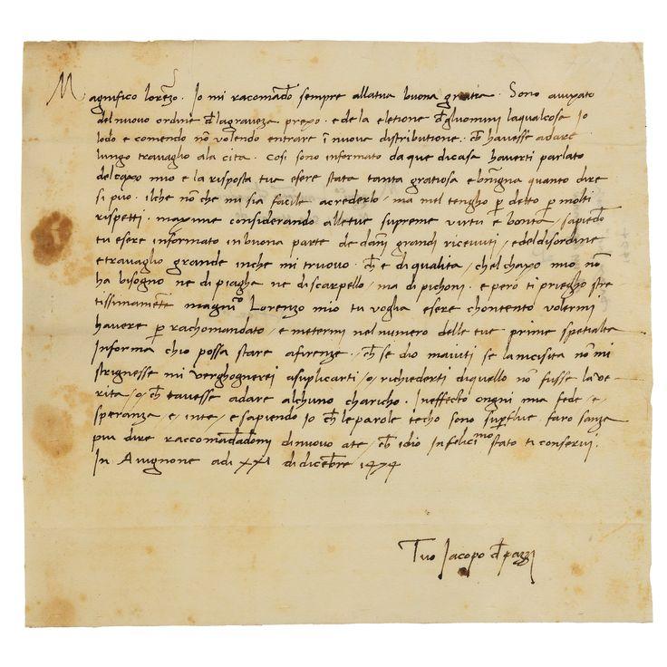 15 LETTERS OF MAIN CONSPIRATORS DIRECTED TO LAURENT DE MEDICI 1 AND JULIEN DE MEDICI LETTER. 1458-1477.
