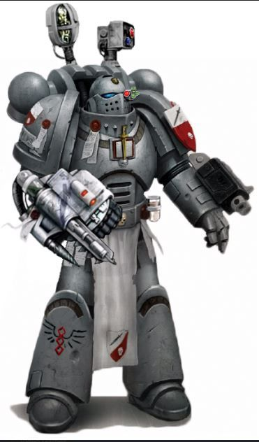 A Grey Knights Apothecary is a specialist officer of the Grey Knights Space Marine Chapter who possesses advanced biomedical and scientific training and who serves as a combat medic and research physician for his Chapter. An Apothecary's role in battle is to recover the gene-seed from slain Astartes and to tend to the wounded and maimed.