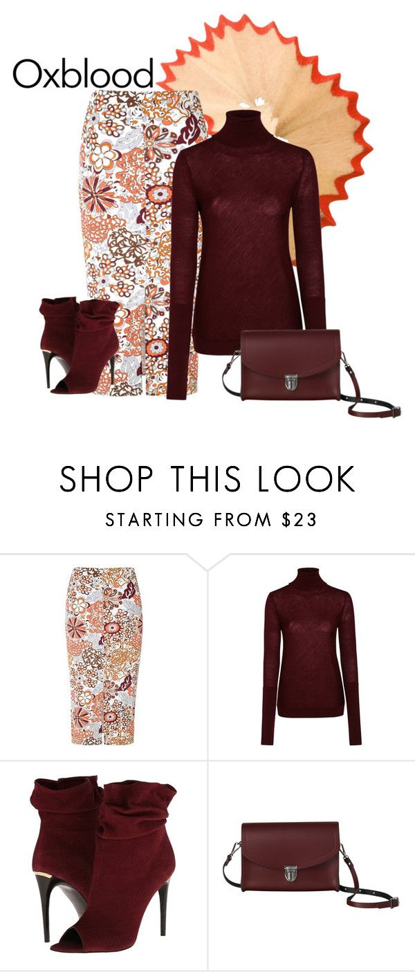 """oxblood"" by shannonsmilez ❤ liked on Polyvore featuring Glamorous, Nicole Farhi, Burberry and The Cambridge Satchel Company"
