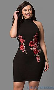 Shop short black plus-size party dresses at Simply Dresses. Cheap semi-formal dresses under $50 with lace trim and off-the-shoulder bell sleeves.