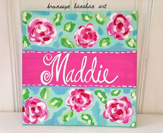 A merry medley of roses! Item is made to be personalized with a name or short saying!    Color Palette:  Aqua, Pink + Green    Canvas is hand