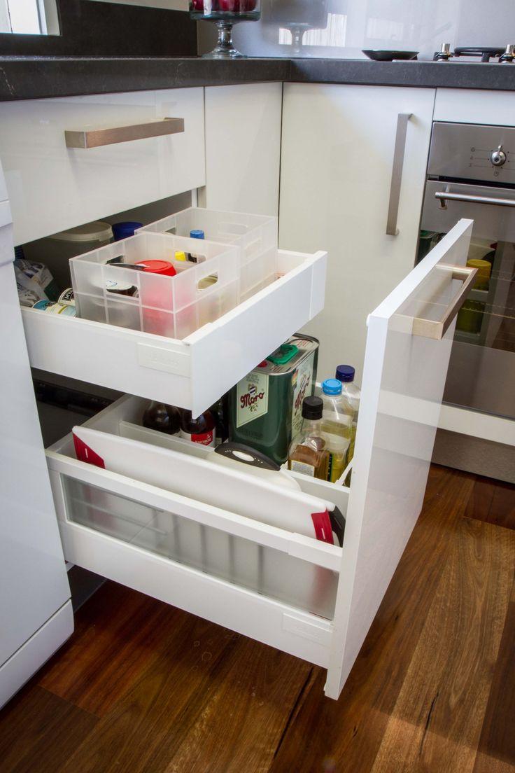 Oil drawer. Chopping board storage. Hidden spice drawer. www.thekitchendesigncentre.com.au
