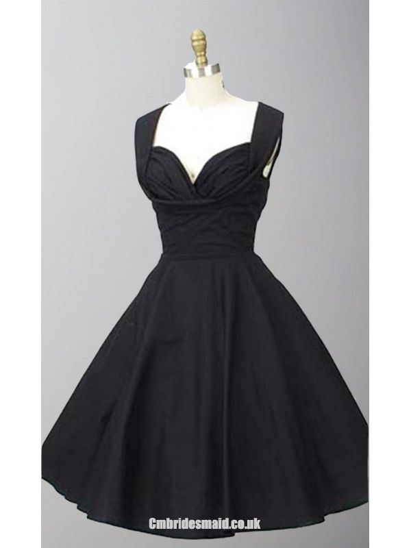 1950s Inspired Shelf Bust Straps Little Black Dresses Uk kissprom