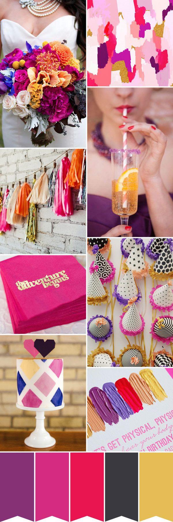 pink purple gold wedding colour palette