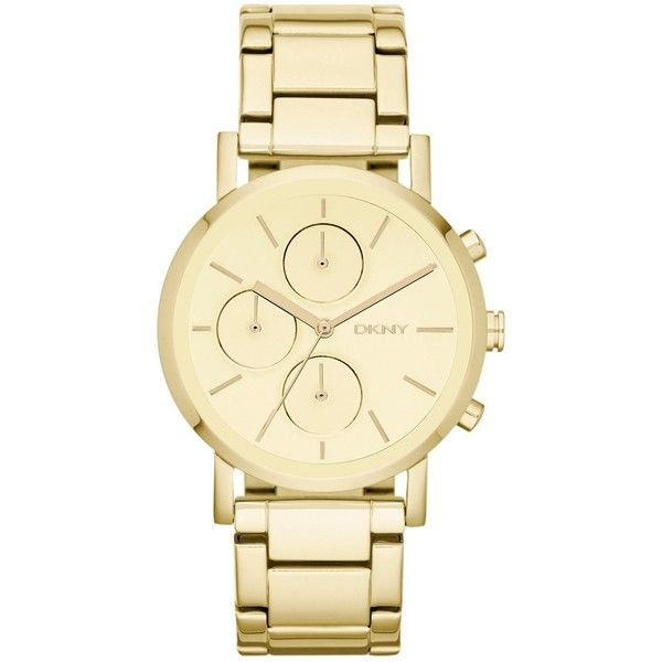DKNY Gold Tone Chronograph Watch found on Polyvore