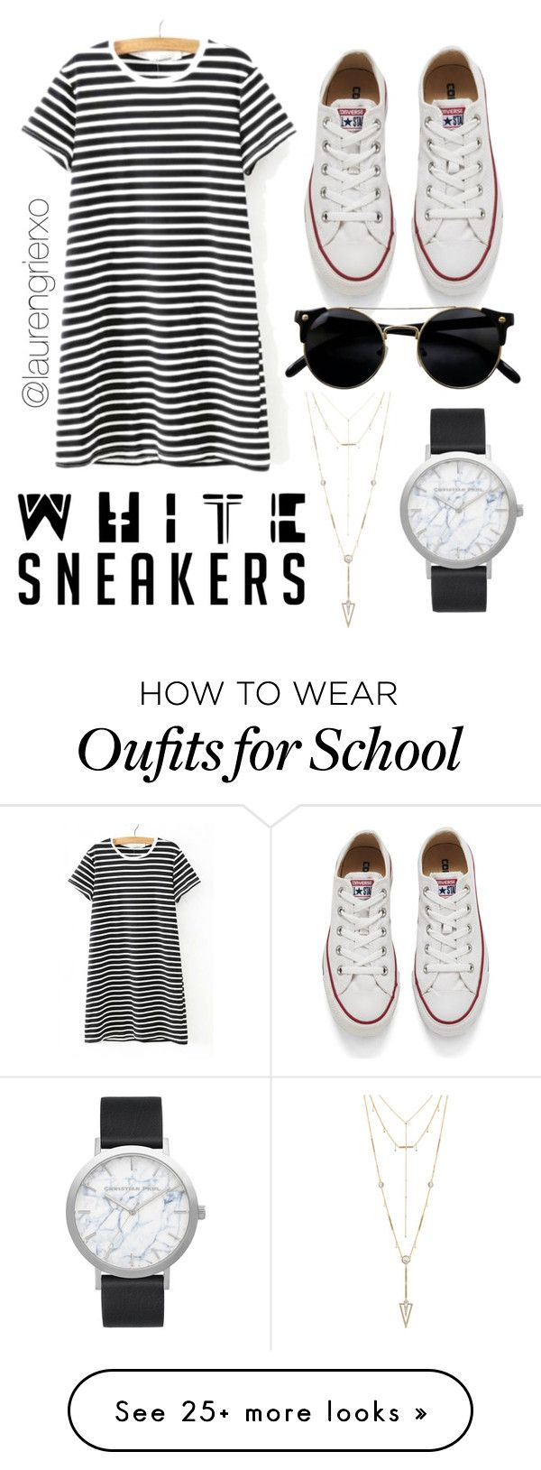 school by laurengrierxo on Polyvore featuring WithChic, Converse, House of Harlow 1960 and Elwood