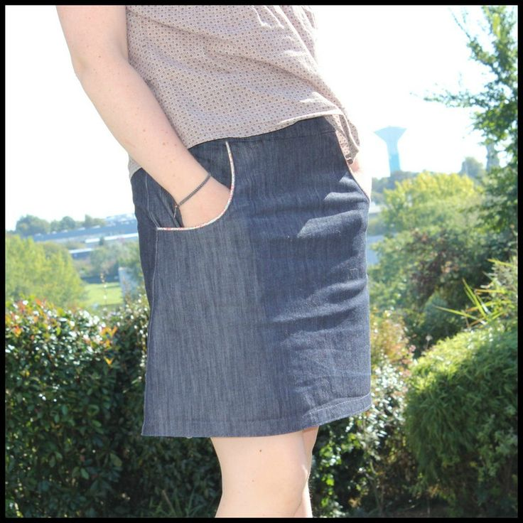 jupe poche passepoilées