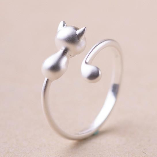 Cute 925 Sterling Silver Cat Wrap Ring