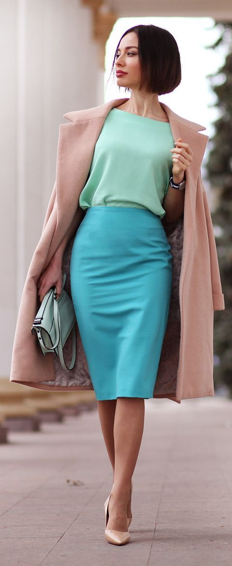 Pinterist: oAmyLeeo Spring Pastels Chic Style. Blue skirt blouse coral coat. women fashion outfit business outfit
