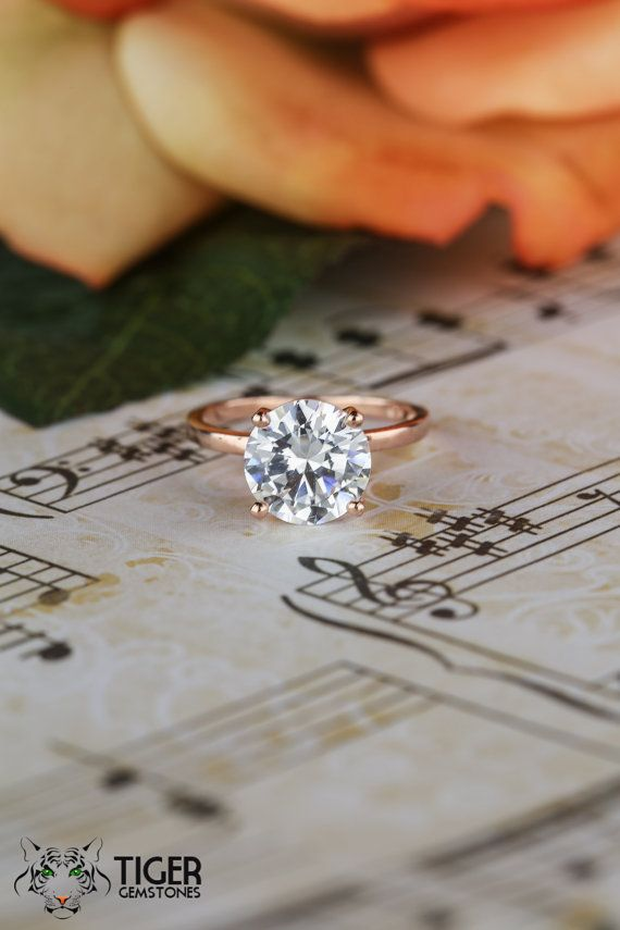 3 Carat 4 Prong 9mm Solitaire Engagement Ring by TigerGemstones
