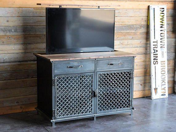 tv lift cabinet vintage industrial console popup hidden lcd