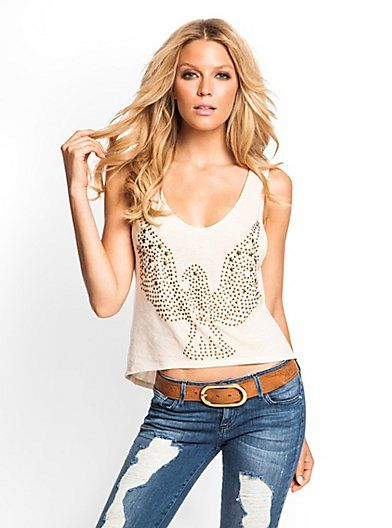 Cropped Studded Eagle Tank | GUESS.com. love it