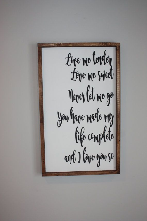 Love Me Tender  Wood framed sign  Farmhouse by ThriftyTreasures01