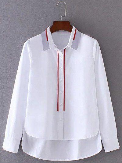 High Low Striped Hem Buttoned Shirt