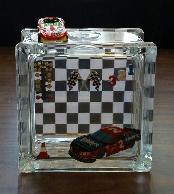 Check out this item in my Etsy shop https://www.etsy.com/listing/221288805/hot-wheels-racing-car-glass-block-piggy