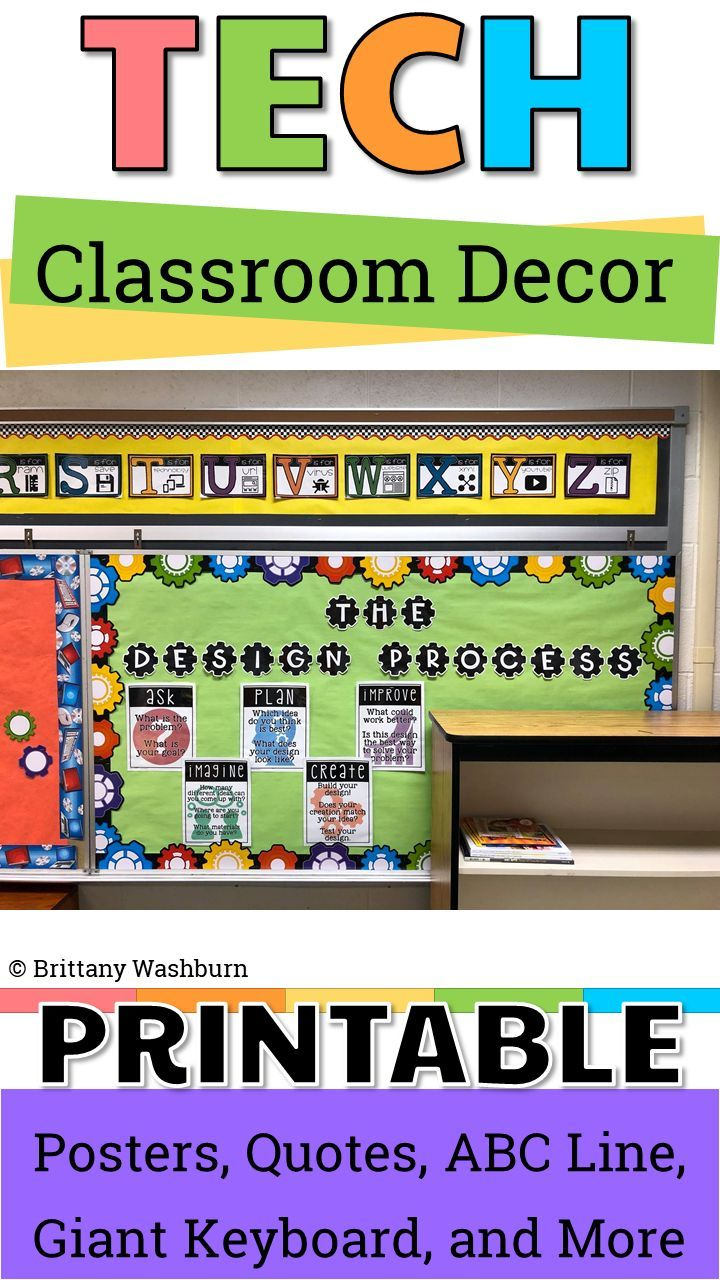This set of Technology Themed Design ProcessPosters is colorful and creative so you can decorate your computer lab, media center, or classroomwhil…