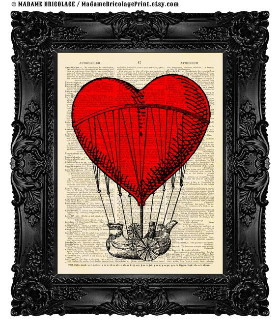 Love Balloon, Original Mixed Media Dictionary Art Print on Recycled Vintage Dictionary Paper, Unique Anniversary Gift 417