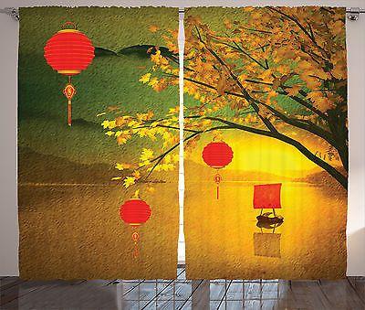 Asian Curtains 2 Panels Set Chinese Lanterns Festive Home Decor in Home & Garden, Window Treatments & Hardware, Curtains, Drapes & Valances | eBay