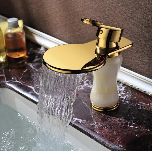 New arrival gold finish high quality bathroom basin jade faucet sink faucet basin mixer basin tap basin faucet bathroom faucet