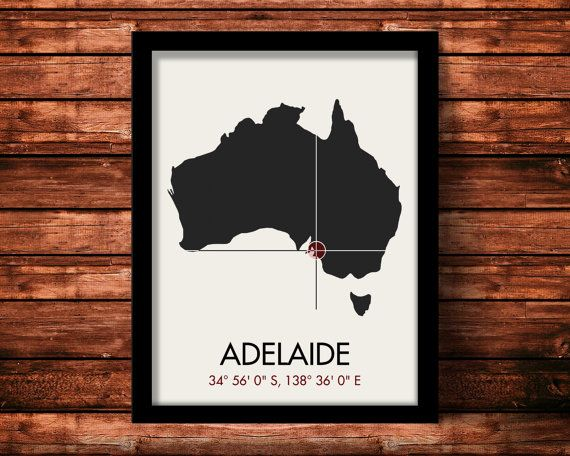 Adelaide Australia art print by Mr. City Printing. Unique modern map art with a crosshair at the latitude and longitude of the city. Each print is