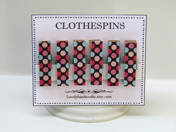 Polka Dots Clothes Pins  Decorative Wooden Clothespins  Set