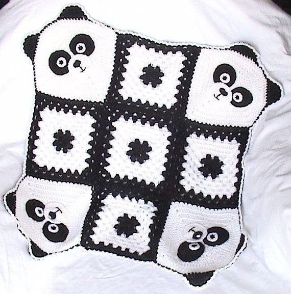 Crochet Panda Blanket,Crochet baby blanket,Panda Stroller/Travel/Car seat blanket,Unisex baby blanket,Granny square blanket