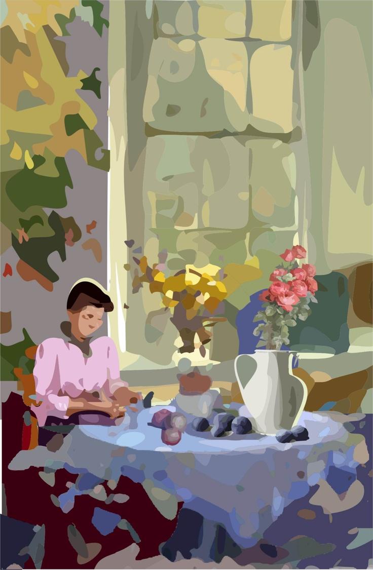 Interior, mulher e mesa c/ flores