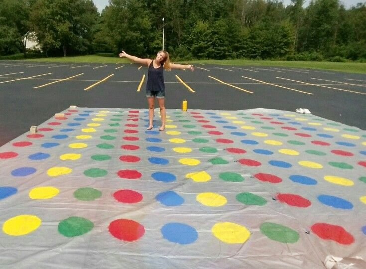 Giant Twister! two 12x24 tarps tied together and Krylon spray paint. So fun and easy! #youthministry #games