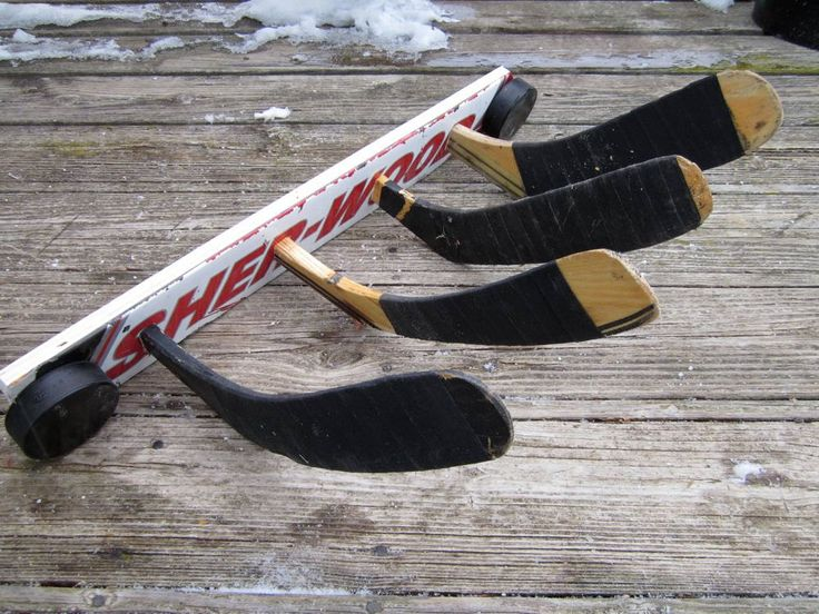 Hockey Stick Coat Rack. $39.97, via Etsy.