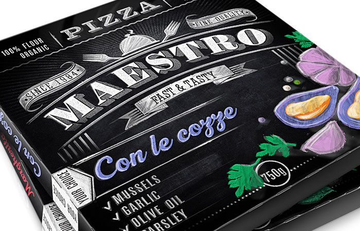 Moscow based agency, Viewpoint created a package design that exemplify the essence of what is an Italian pizza – the idea of simple, natural ingredients, traditions and recipes handed down from generation to generation. The chalk board menu feel, creates a link to authenticity and freshness you get in a trattoria.