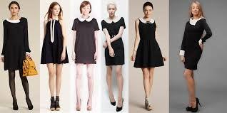 платья с воротничком черные школьные мода 2015