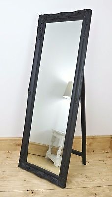 "Isabella Black Shabby Chic Free Standing Antique Cheval Mirror 60"" x 22"" V Large"