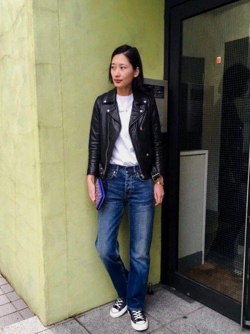 潮田あかりさんの「beautiful people×MIDWEST 【別注】ライダースジャケット(beautiful people)」を使ったコーディネート
