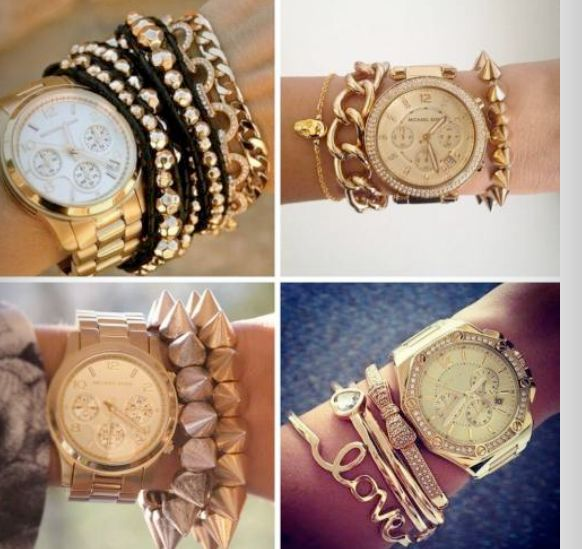 wow !! gold watch and bracelets!