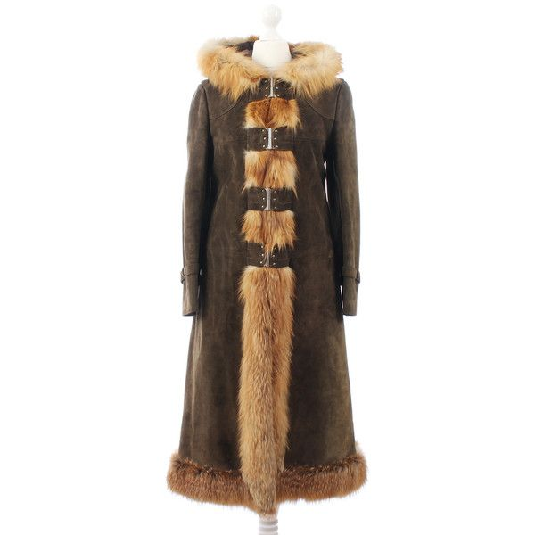 Pre-owned Louis Feraud - coat with fur (€490) ❤ liked on Polyvore featuring outerwear, coats, brown, brown fur coat, brown coat, fur hooded coat, hooded coat and fur coat