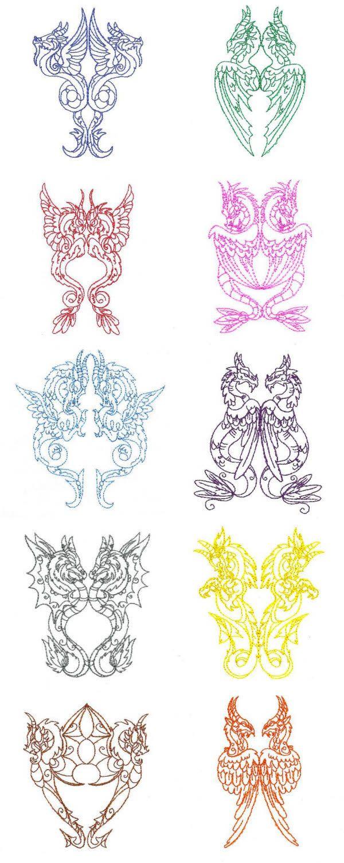 Legendary Dragons Embroidery Machine Design Details | at designsbysick.com
