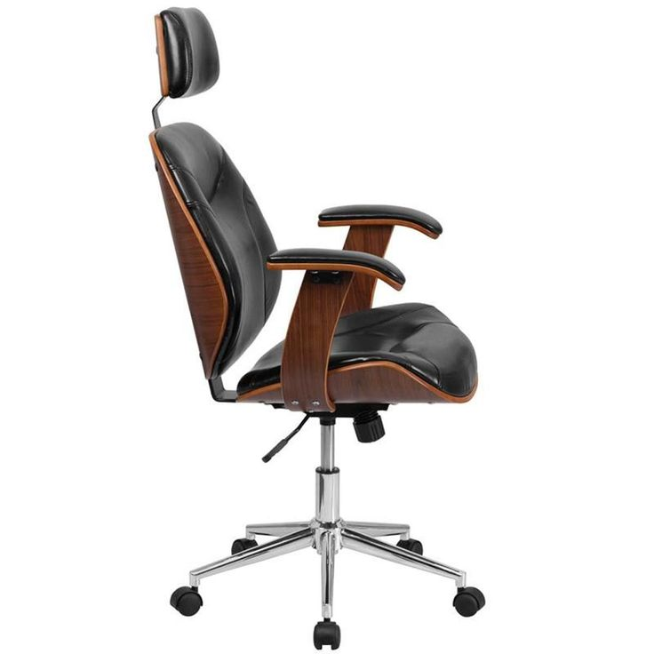 Flash Furniture High Back Black Leather Executive Wood Swivel Office Chair #ergonomicofficechairfurniture