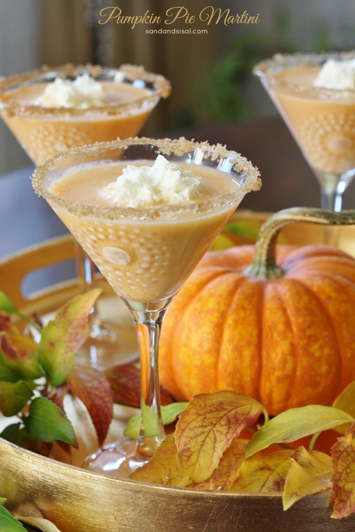 Serve this Pumpkin Pie Martini for a Thanksgiving cocktail. Silky smooth pumpkin pie with rich, fluffy whipped cream in a brown sugar rimmed martini glass