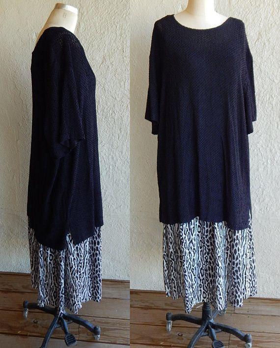 6bc059e62a91 Sharade California Designer Plus Size Dress Two Piece Dress Tunic Combo  Slip Style Skirt Leopard Pattern Vintage 90s 22WP OOAK Item Unique