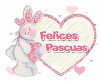 """Conejo de Pascua con orejas y corazones brillantes. Imagen animada. """"Felices pascuas""""."""