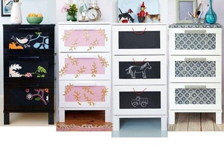 Med tavlemaling, dekorpapir, bladgull og stoff får Aneboda-kommoden fra IKEA helt forskjellig utseende.