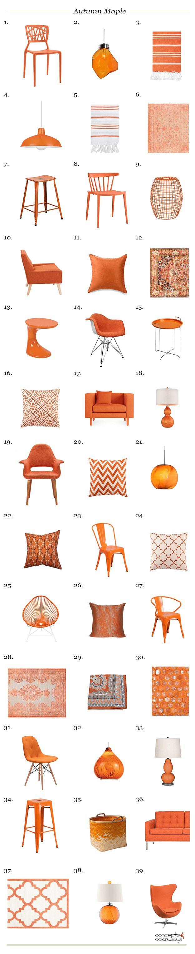 pantone autumn maple interior design product roundup, blood orange, burnt orange, reddish-orange, tangerine orange, pantone autumn maple, color for interiors, interior styling