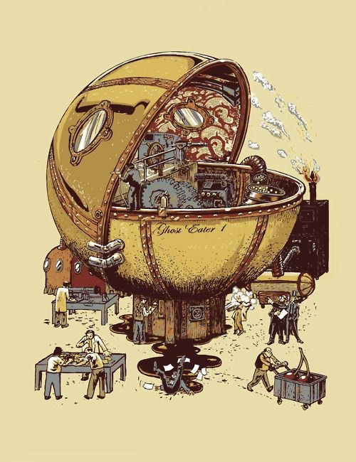 Ghost Eater 1 - by Florent Bocognani  Steampunk Pacman!    Forget the steampunk ghostbusters, I'd go with the Ghost Eater 1.    Wonder what a power pill would do…