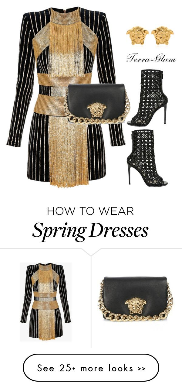 """Stand Out!"" by terra-glam on Polyvore featuring Balmain and Versace"
