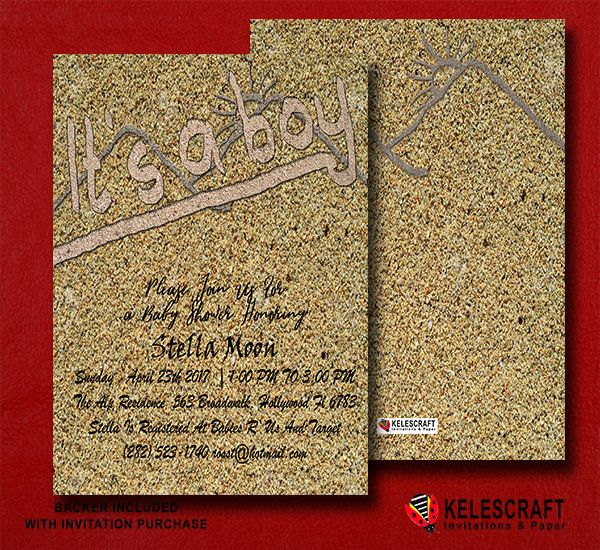 SAND BABY Shower Invitations  Digital Invite  Customizable Sand Glitter Text Confetti Sparkles  Invite Handmade Text  Neutral DiY Printable by KelesCraft on Etsy